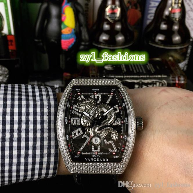 Новые мужские деловые наручные часы Silver Diamond Case Watch Diamond Scale Watch Кожаный ремешок Часы Автоматические механические спортивные часы