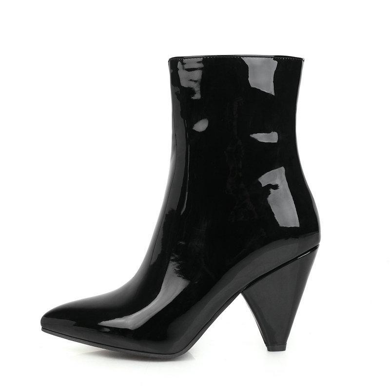 Женщины Boots моды Спайк Высокий каблук сапоги Pu кожаный носок Zipper Остроконечные Осень Зима Женская обувь Black White Silver