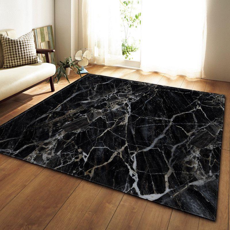 Schwarz-weißer Marmor gedruckt Schlafzimmer Küche Großer Teppich für Wohnzimmer Tatami Sofa Bodenmatte Anti-Rutsch-Teppich tapis Salon dywan