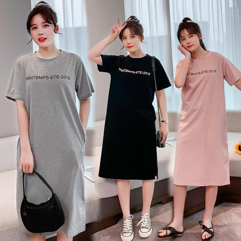 740 # Estate sottile di cotone maternità lunga Tees sonno Lounge vestiti di usura per casual T shirt gravidanza Gravidanza Donne Dress