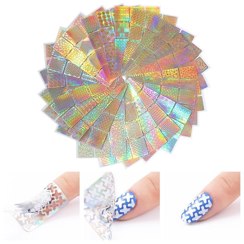 Laser Nail Art Sticker Hohl Schablone Gelpoliermittel Nagelspitze Guide Aufkleber Transfer Tamplate Maniküre Nägel Tipps Aufkleber F565