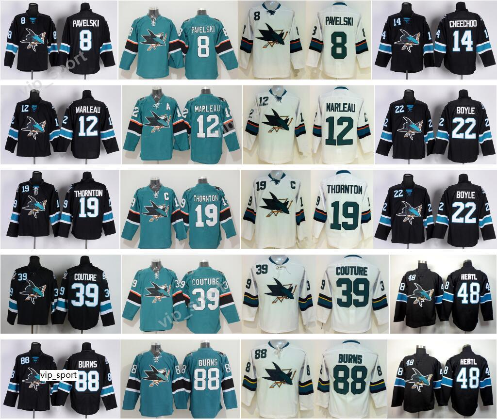 Homens Hockey 8 Joe Pavelski Camisola San Jose Tubarões 88 Brent Burns 39 Logan Couture 19 Joe Thornton 12 Patrick Marleau Tomas Hertl