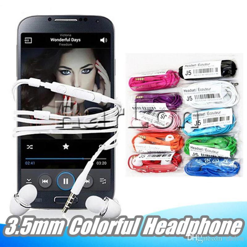 삼성 갤럭시 s4 S8 S6에 대 한 마이크 유니버설 이어 버드와 볼륨 조절 헤드셋 헤드폰 3.5 mm 다채로운 J5 이어폰