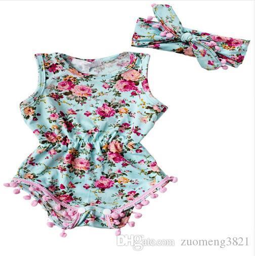 Ropa de los niños Niño Rosy Baby Girl bebé floral mameluco Infant Girl Pretty Mameluco de la flor de la borla mamelucos del bebé mono trajes