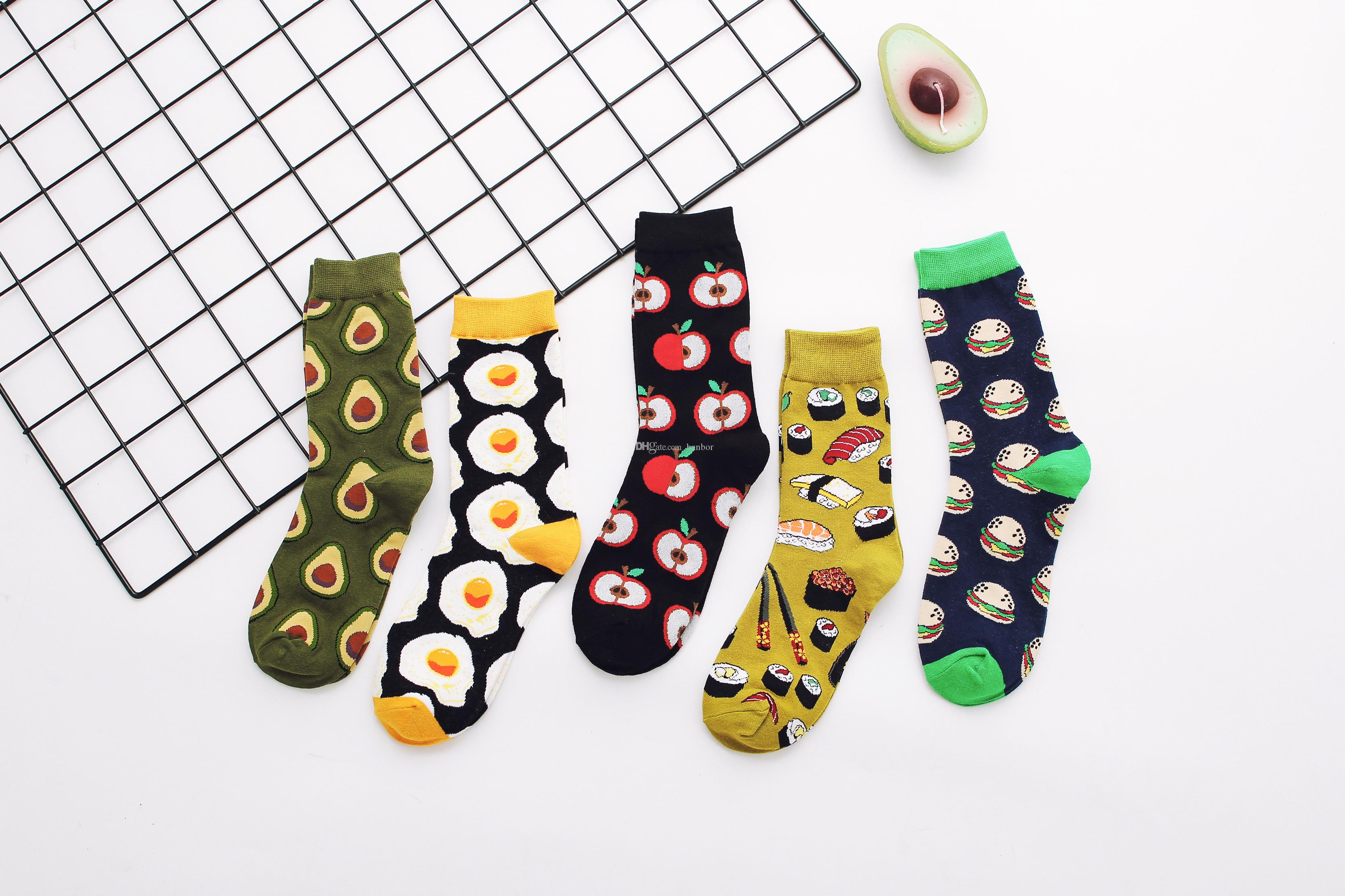 Wholesale Unisex Socks Fashion Cartoon Breathable Egg Apple Avocado Pattern High Quality Cotton Socks Free Shipping