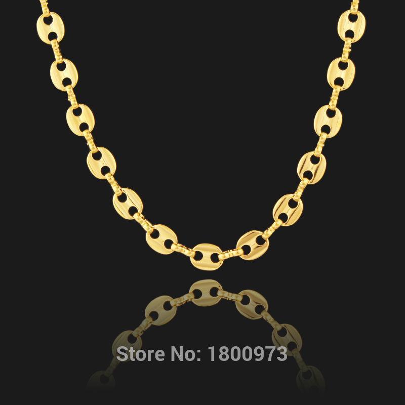 Alta calidad Gold Filled Cadena Twisted Marina Hombres Mujeres Hombres Enlace collar de la joyería al por mayor de regalo