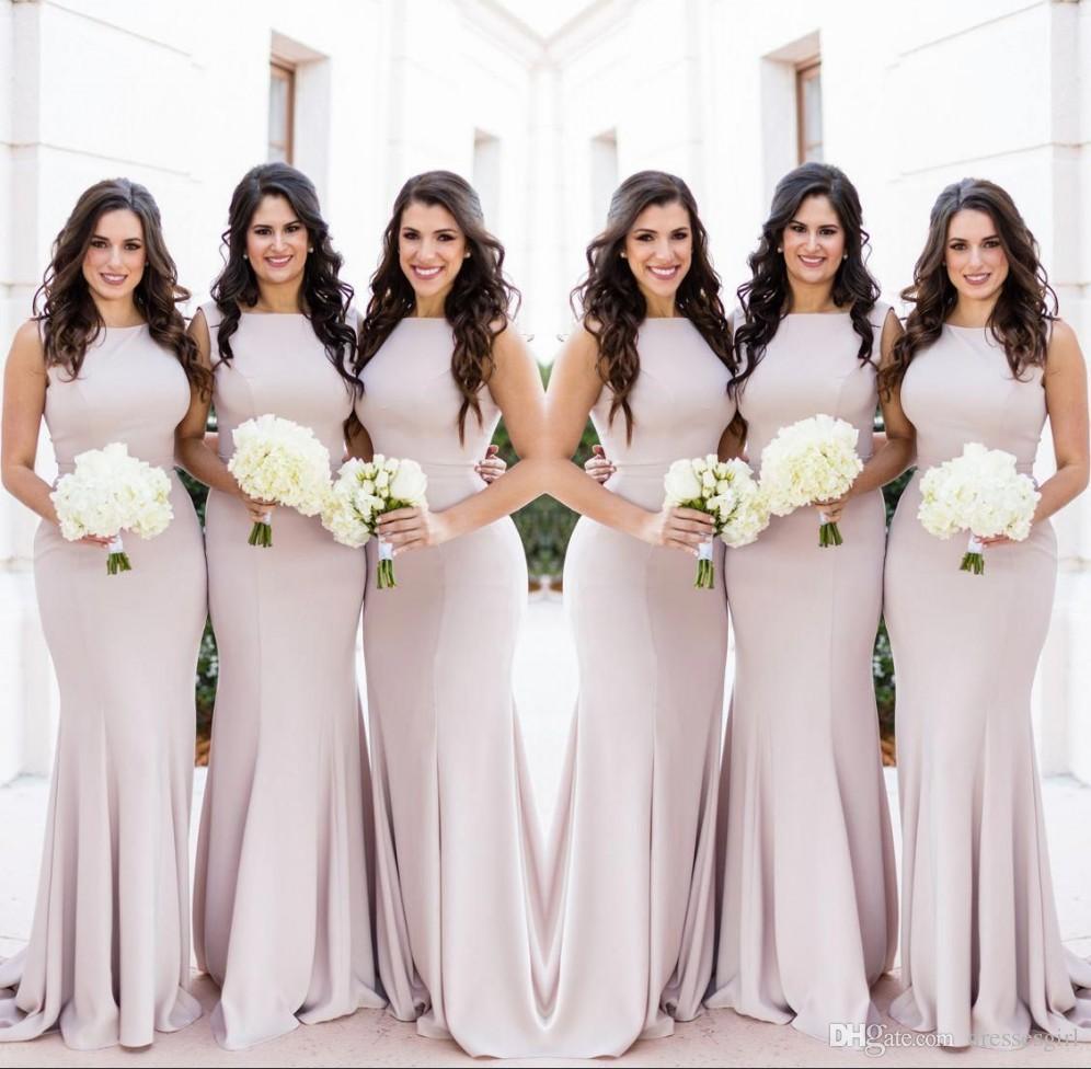 Старинные светло-серый платья невесты Jewel шеи Русалка длина пола длинные фрейлина платье Свадебные платья гостей платье партии платье BM0627