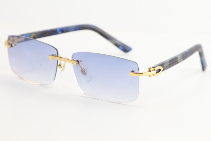 판매 튼튼한 대리석 블루 격자 무늬 판자 선글라스 8200757 빈티지 패션 고품질 브랜드 태양 안경 독특한 대형 모양 안경