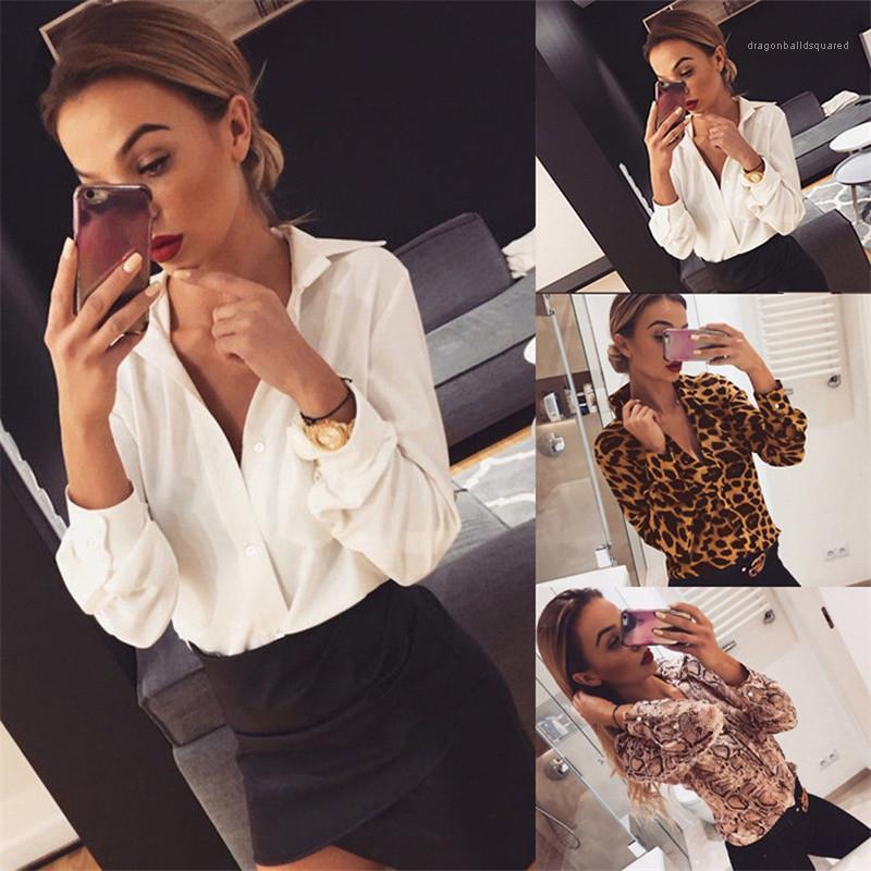 Slim Shirts Fashion Single Breasted Shirts Women Clothing Women Designer Print Shirts Casual Solid Color Lapel Neck