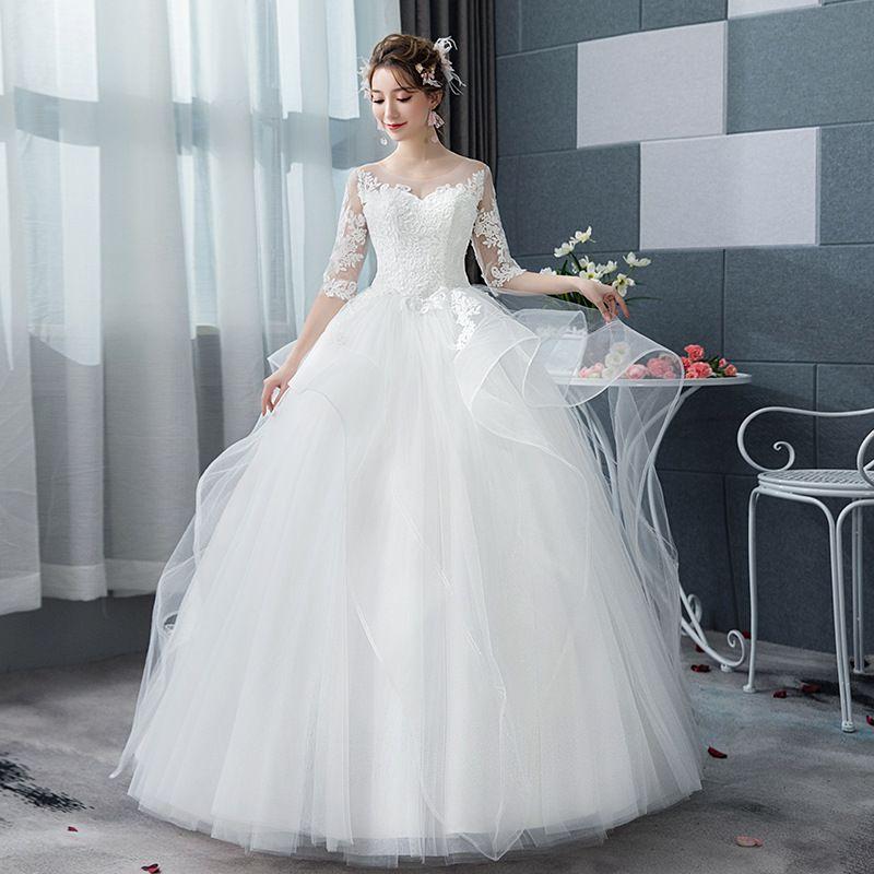 Medias mangas de bola del Organza vestido de novia de encaje apliques 2020 Vestidos de novia de longitud de vestidos de la novia