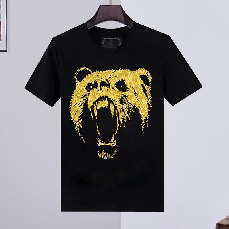 100% Algodão tigre camisetas Homens Verão Básico cristal sólido Crânio T-shirt Casual carta Punk alta qualidade encabeça roupas para manga curta M-3XL