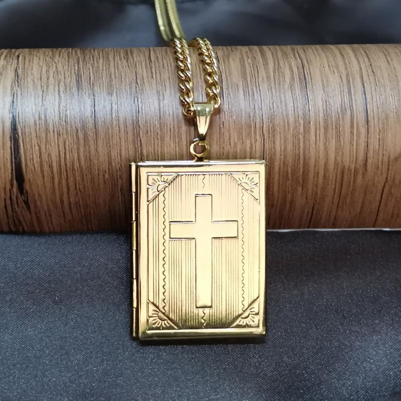 Amante Valentine presente Photo Frames pode abrir Medalhão Colares do 35 + 5 centímetros Colar Gargantilha Cruz Jewelry For Women Men