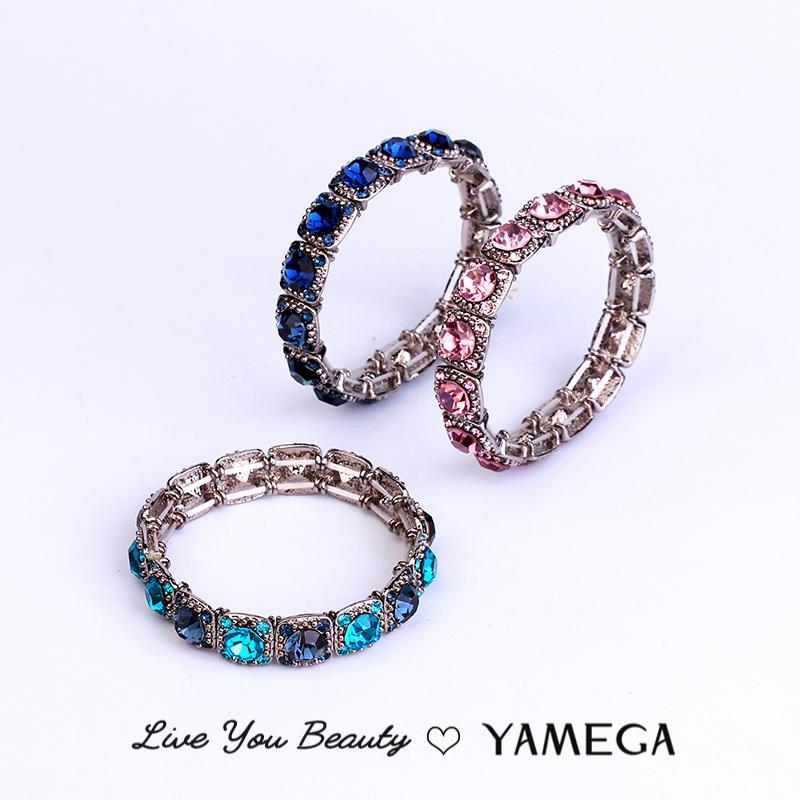 Модный Роскошный кристаллический браслет ювелирных изделий способа Марка Упругие расширяемый браслет металла манжета браслеты для женщин Девушки