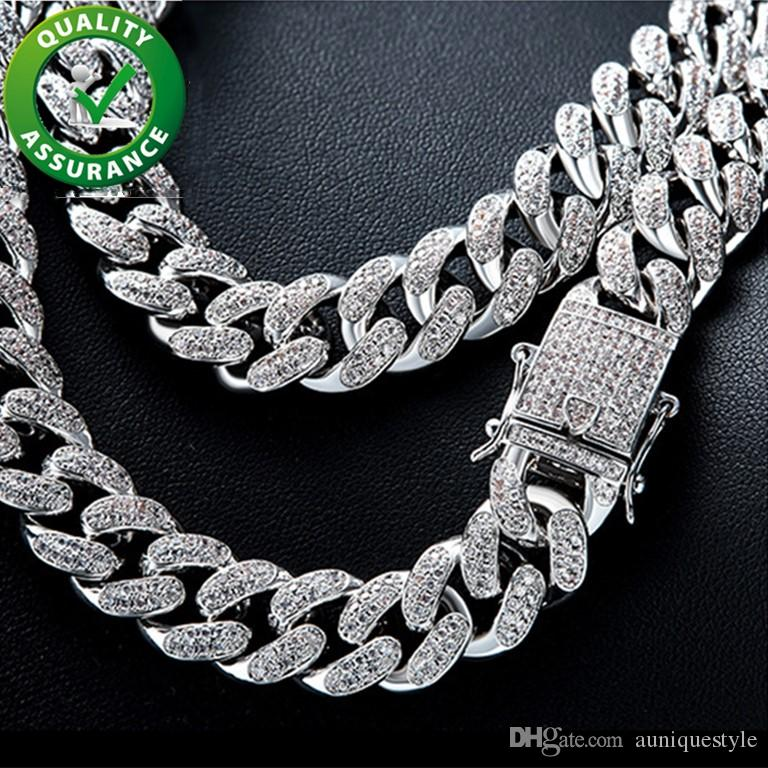 Cuban Link Chain Iced Out Mens Necklace Hip Hop Jewelry Luxury Designer Silver Necklaces Rapper Bling Diamond Chains 12MM Hiphop Accessories