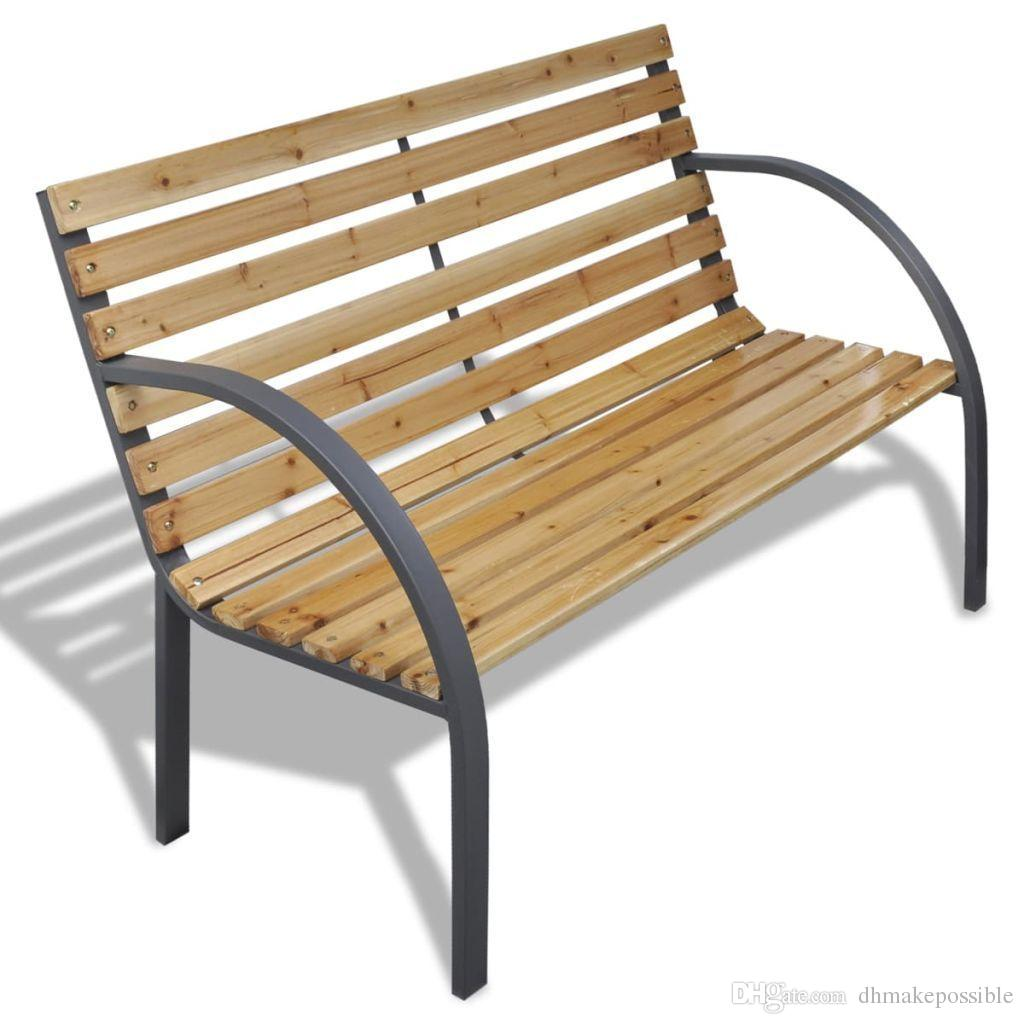 Picture of: 2020 Patio Outdoor Garden Bench Wooden Iron Metal Curved Back Armrests Yard Furniture From Dhmakepossible 77 69 Dhgate Com