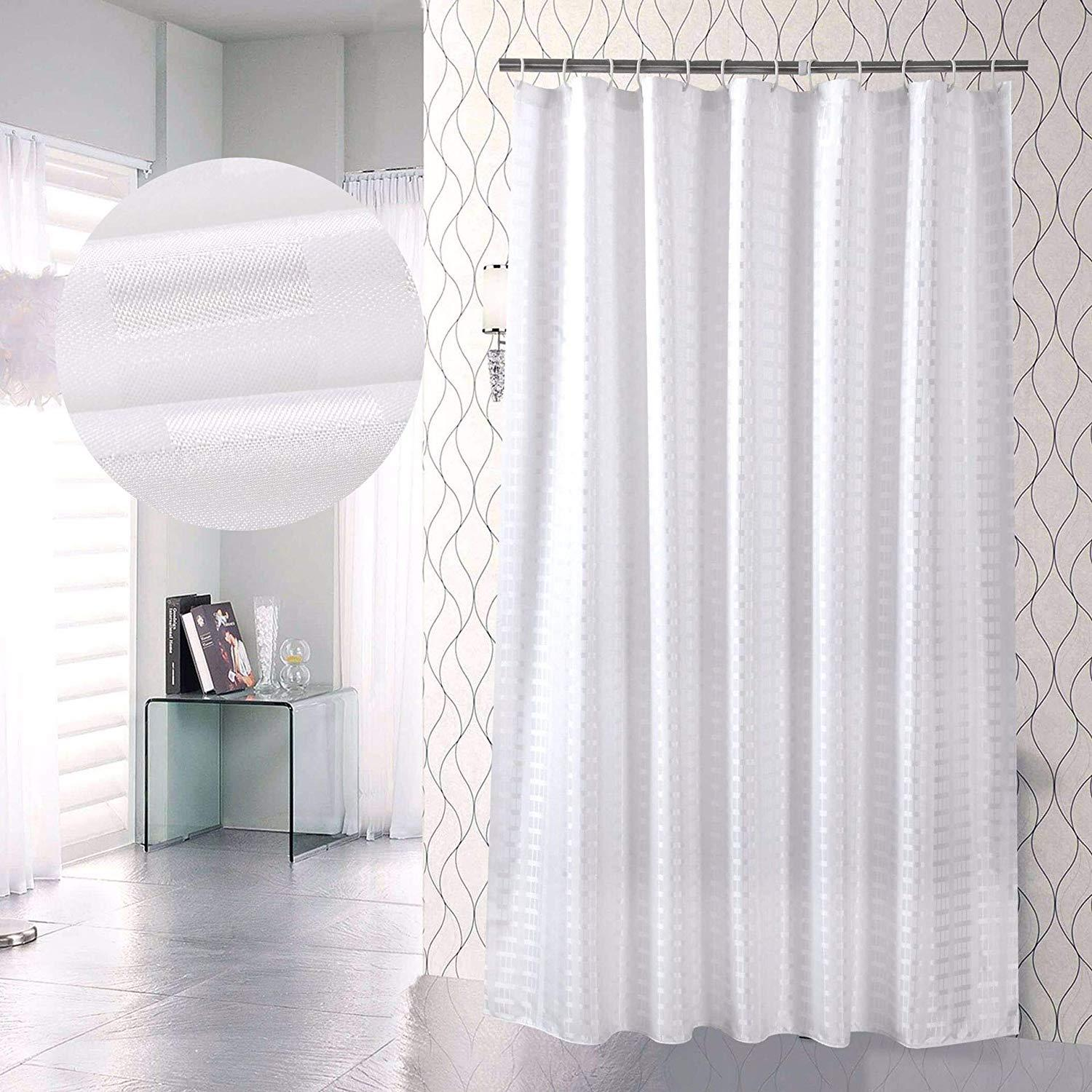 2019 Jarl Home Bathroom Sets With Shower Curtain And Hooks 72 72 Solid White Fabrics Shower Curtain Liner Opaque Waterproof Polyester Curtains From