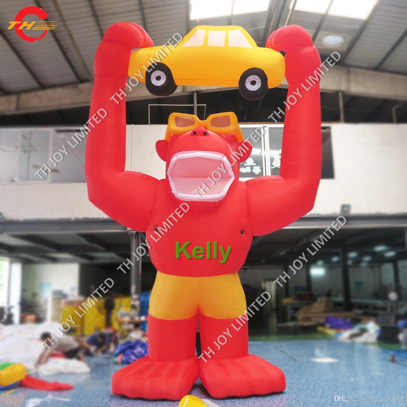 Ucuz açık reklam için şişme goril karikatür standı sıcak satış promosyon faaliyetleri ekran şişme karikatür balonlar