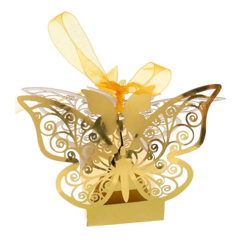 ترقية وظيفية! الفراشة زفاف جديد 50PCS الديكور الطرف الامدادات الحدث مربع مربع لصالح حلوى هدية مربع حفل زفاف حفل زفاف تفضل (الذهب