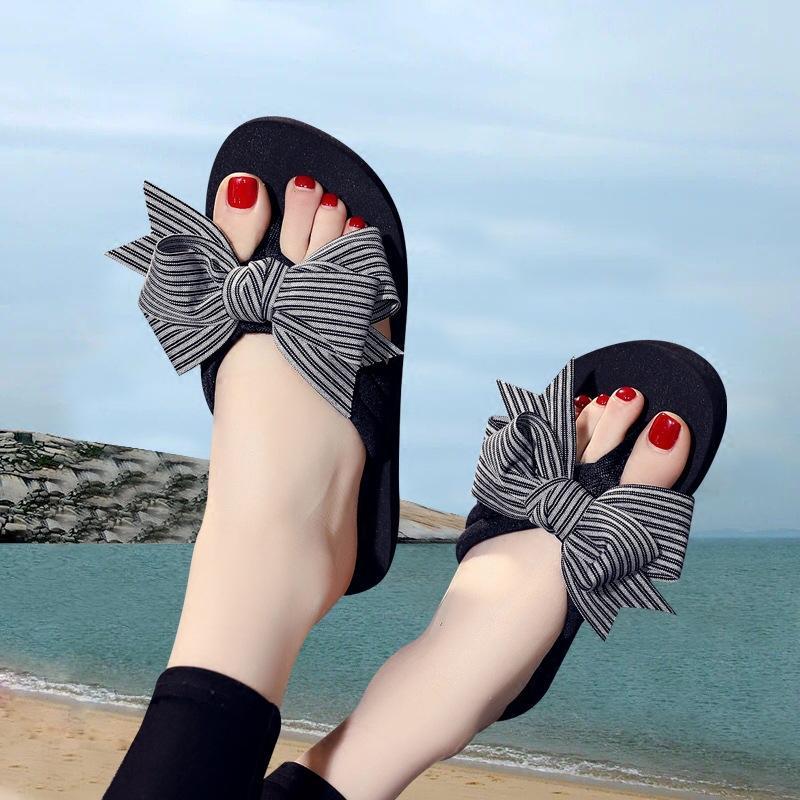 2018 Verão New Style Bow Bowtie Ladies' falhanços Grosso Bottomed Anti-slip sandálias flip-flop Sandals
