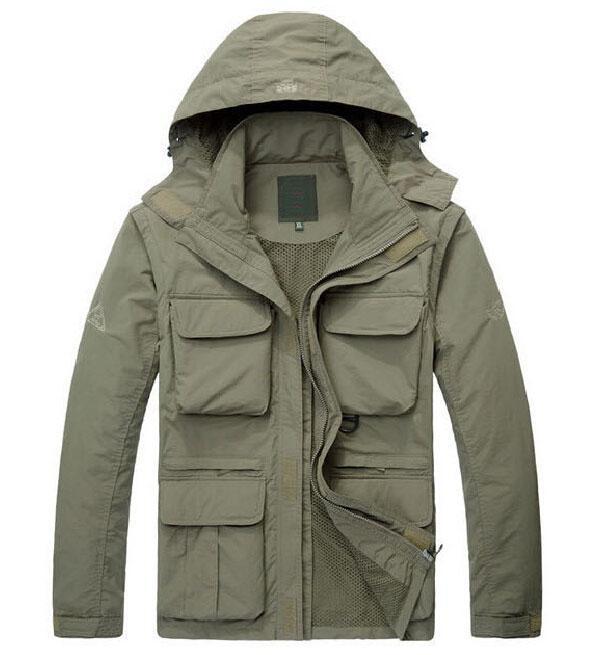 Ceketler palto Moda-2019 yeni marka Dış Giyim Ceket Erkekler su geçirmez Taktik Yumuşak Kabuklu Kol Ayrılabilir mont,