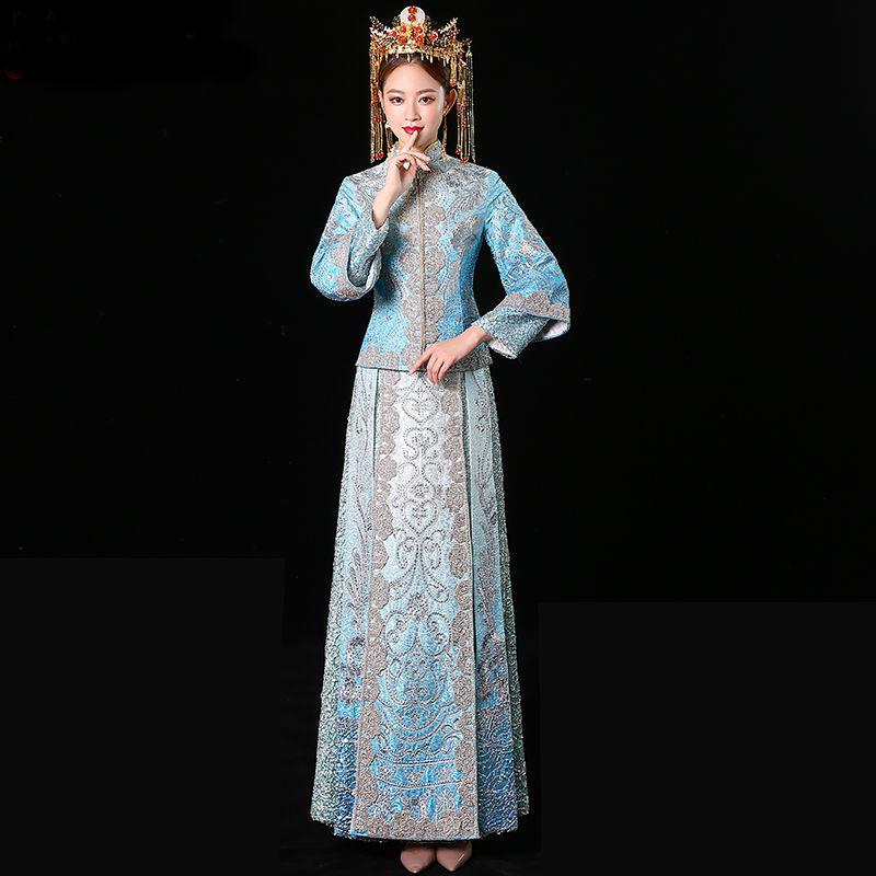 Bride Traditional Women Chinese Wedding Qipao Loose Cheongsam Oriental Dresses Embroidery Rhinestone Clothing Size S M L XL XXL