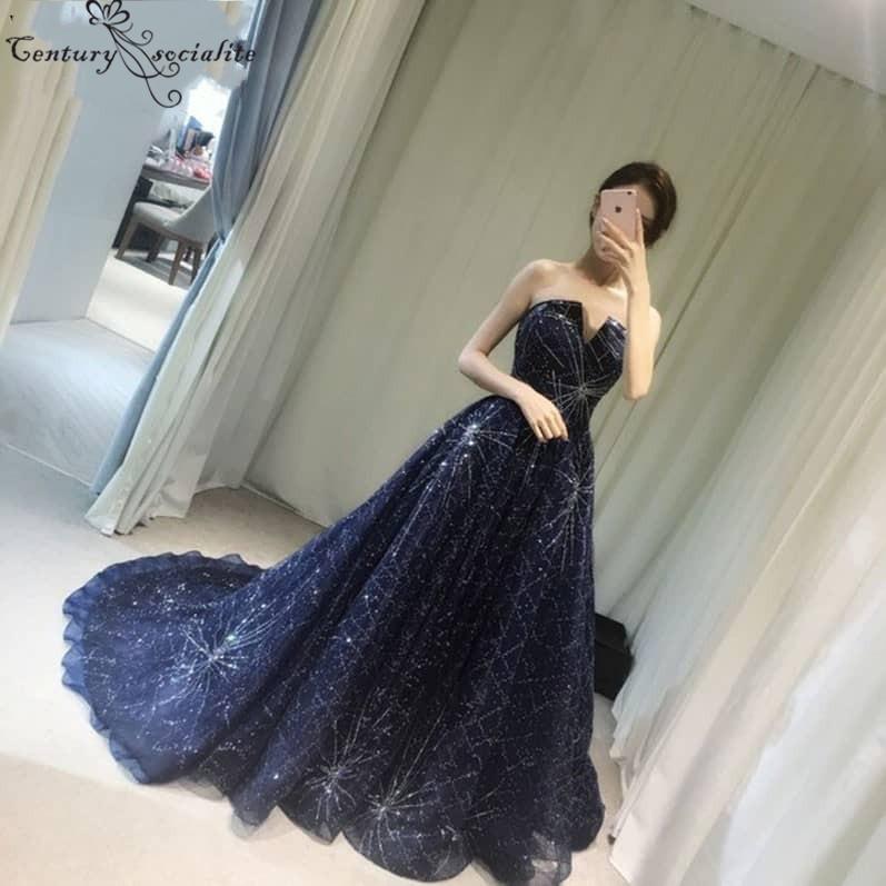 Azul marino Chic Vestidos de noche largos 2019 Corsé Volver Vestido de vestir formal barato Vestido elegante para ocasiones especiales Vestido De Festa