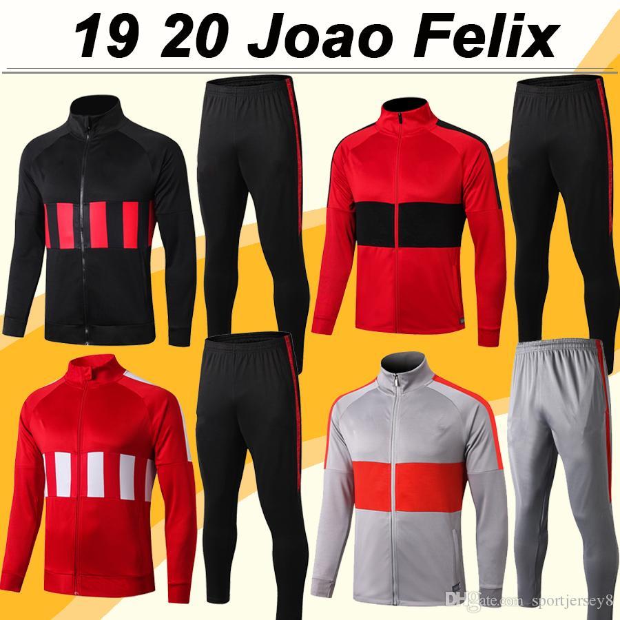 19 20 JOAO FELIX completa zip giacca T-shirt Suit KOKE DIEGO COSTA H. HERRERA M. LLORENTE MORATA Cappello Giacca grigia Set Calcio Maglie