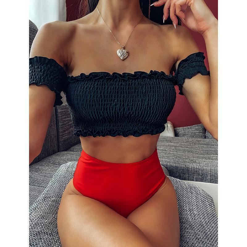 NOVO 2020 Sexy plissadas Bikini cintura alta Swimsuit Swimwear Alças Bikini set Feminino Banhista Terno Swim Wear T200510