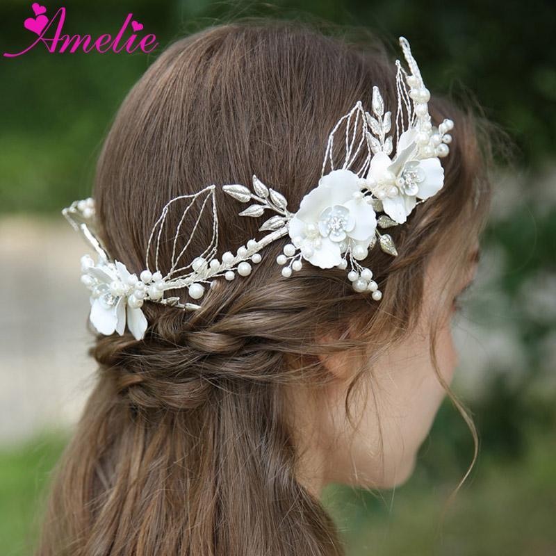 Büyüleyici Çiçek Gelin taç Saç Taç Gümüş Düğün Aksesuarları Kadınlar Saç Bandı Çelenk Gelin Takı