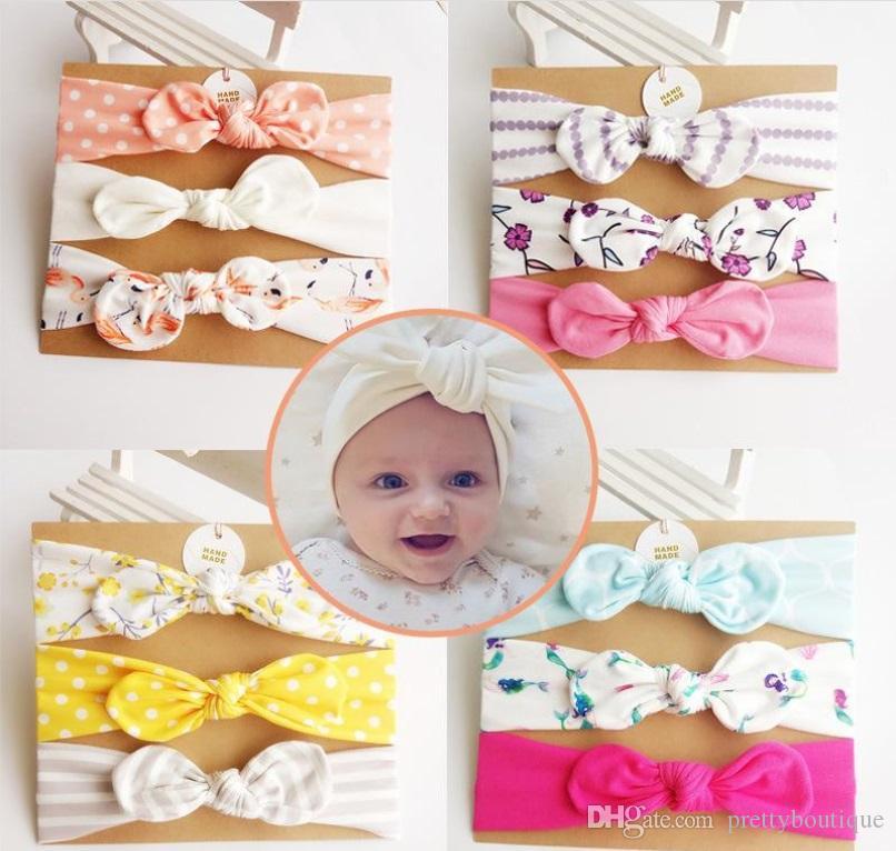 3Pcs / Karte Kinder Stirnband Einhorn Mermaid Haar Accessoires Mode-Blumen-Knoten Bögen Häschen-Band-Kind-Geschenk A221