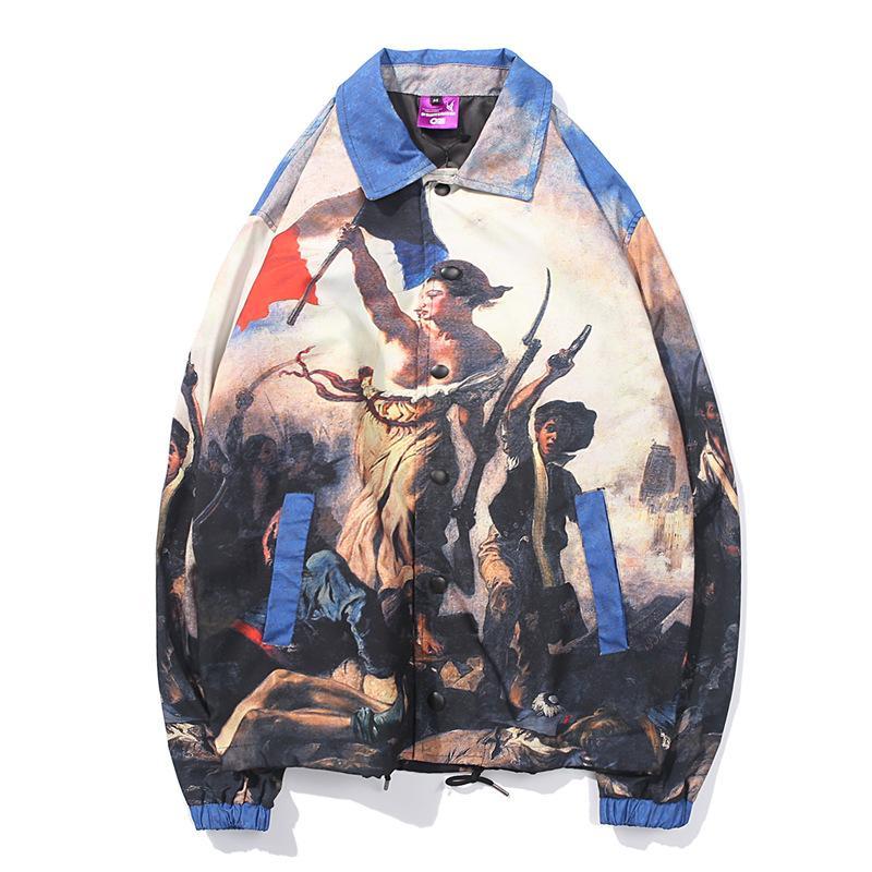 남성 재킷 패션 Casaul 레트로 유화 문자 인쇄 힙합 자켓 느슨한 트렌치 코트 윈드 스트리트 M-XXL