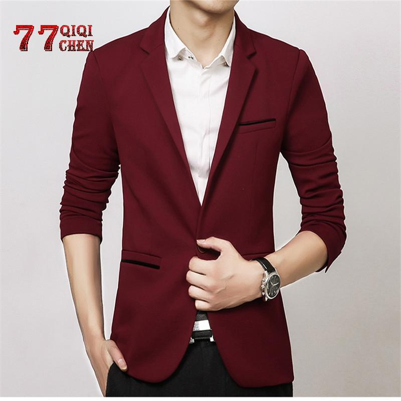 Primavera Autunno di lusso degli uomini Blazer 2019 Casual Business Cotton Slim Fit Giacca Male Plus Size M-5XL giacca sportiva Masculino Uomini Cappotto T200324