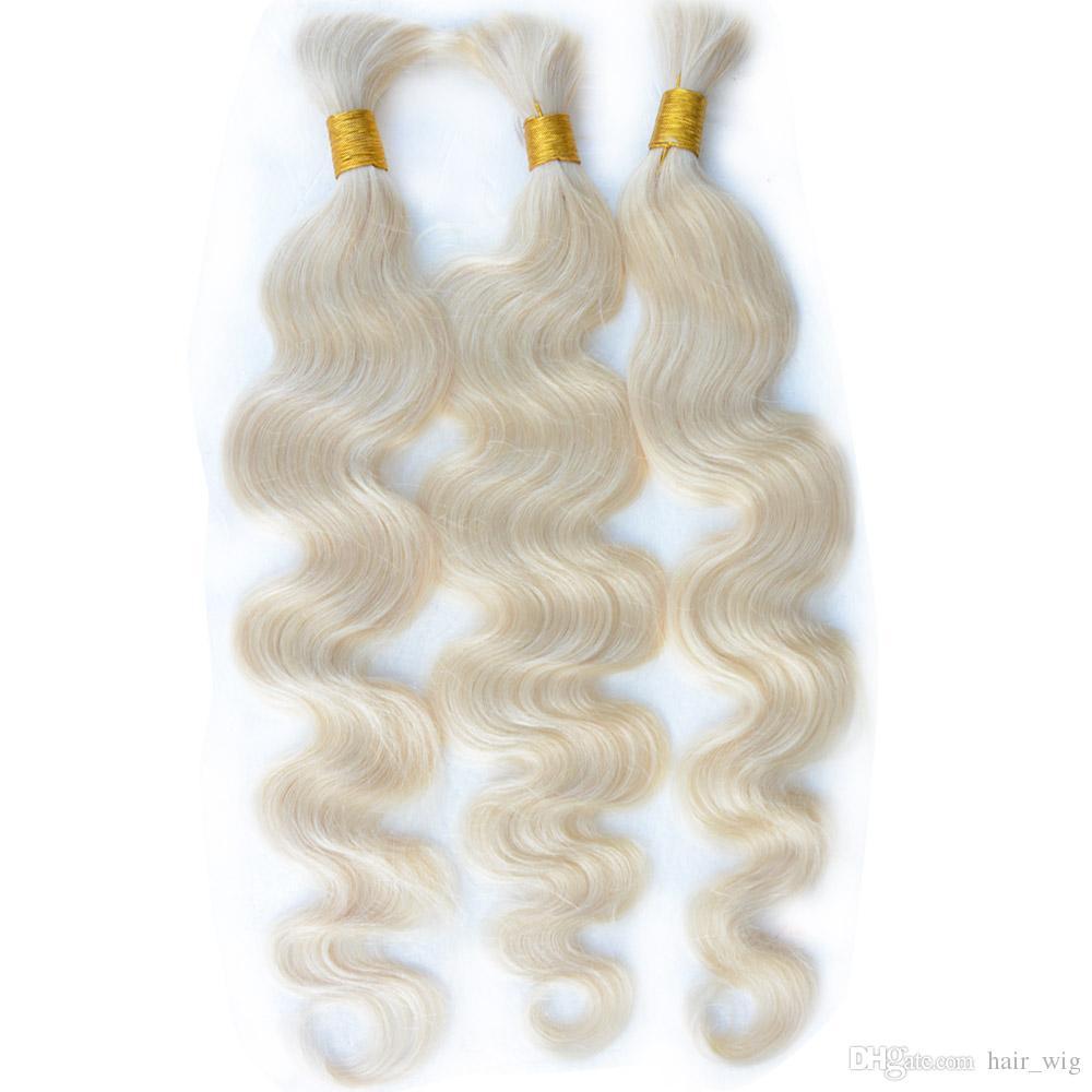 Virgin human hair bulk Brazilian Indian Malaysian Peruvian remy blonde braiding hair extensions bulks 3/4/5 bundles 613 blond body wave hair