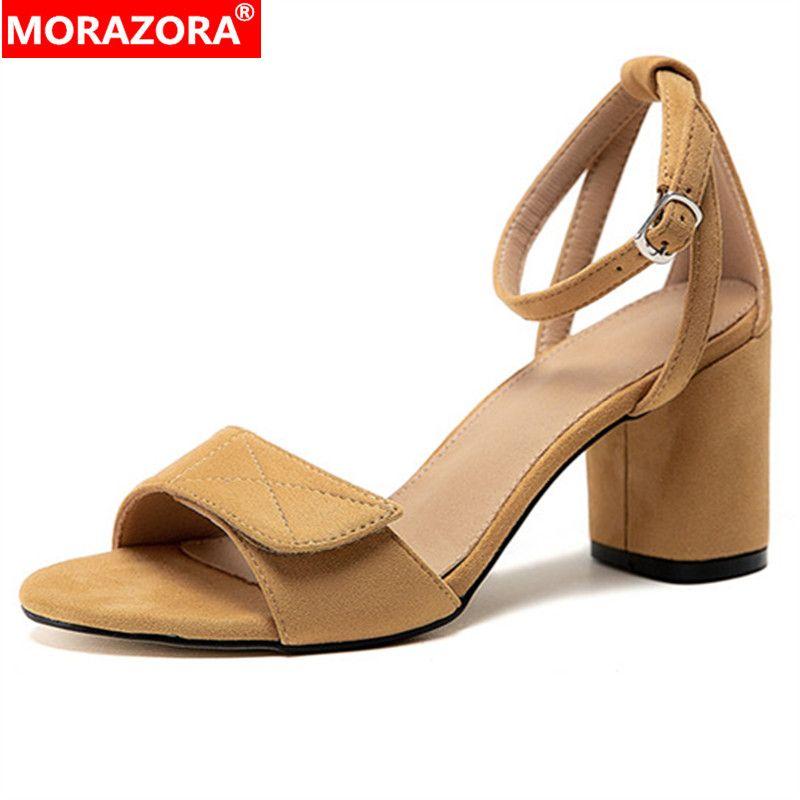 MORAZORA 2020 büyük beden düz renkler yaz kare yüksek topuklu sandaletler bayanlar rahat ayakkabı tokası 33-43 kadın sandalet sürüsü