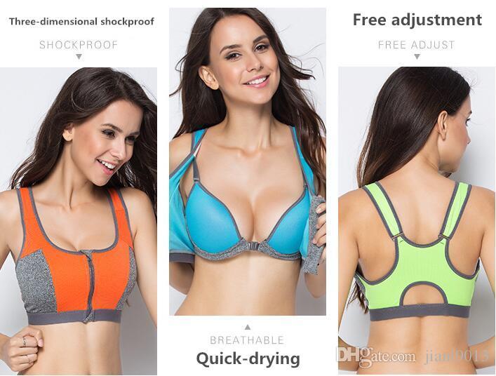 No steel ring sports bra professional high-intensity four-stage shockproof front zipper sports underwear running fitness femaleAA bra
