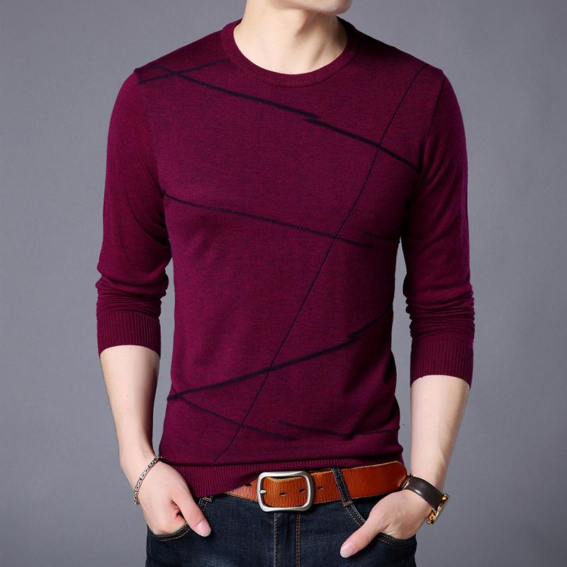 2019 New Fashion Brand Sweater For Men Pullover Woolen Slim Fit Jumpers Knitting Pattern Autumn Korean Style Casual Clothing Men CJ191209