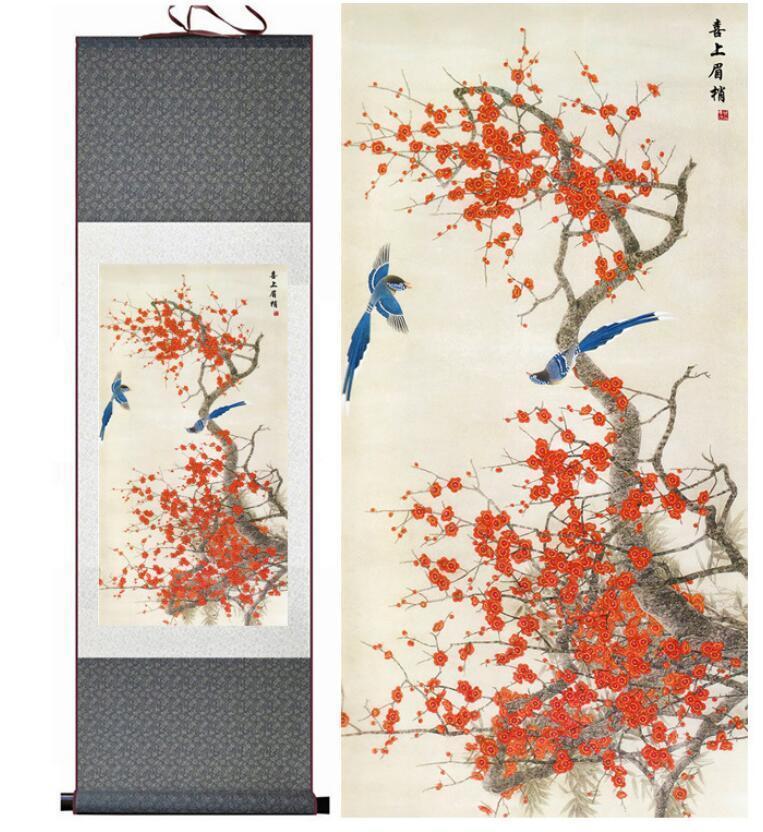 Oiseaux Et Fleur Peinture Soie Scroll Décoration De La Maison Peinture Traditionnelle Oiseaux Et Fleur Peinture Des Oiseaux Chinois