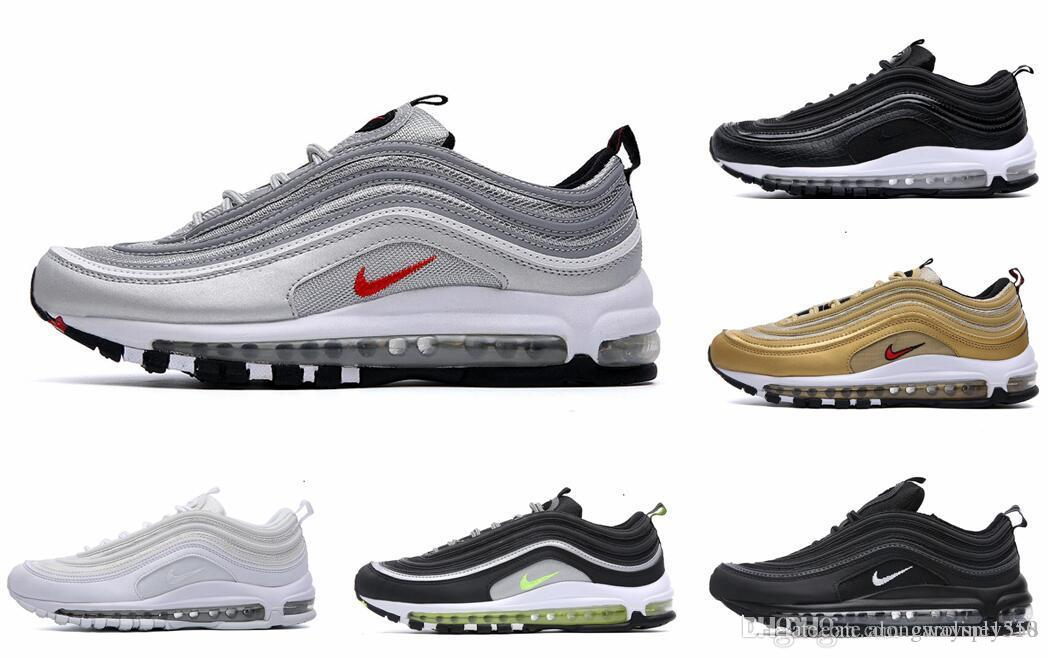 Desig 97 Artı Tn Üçlü Beyaz Siyah Pembe Ayakkabı Koşu OG Metalik Altın Silver Bullet Mens Eğitmenler Kadınlar Spor Ayakkabı Sneakers 40-45