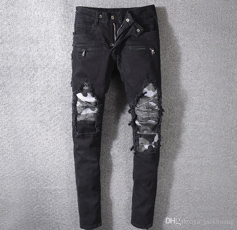 Мужские камуфляж лоскутное черные байкерские джинсы мотоцикл плюс размер slim fit стрейч джинсовые брюки # 8819
