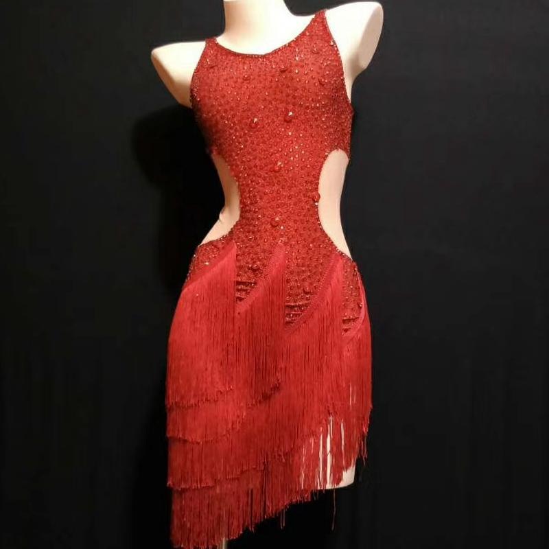 Scintillant Argent Rouge Strass Franges Partie Anniversaire Célébrer Tenue Femmes De Danse Latine Robe Dames Costume De Danse Stage Porter