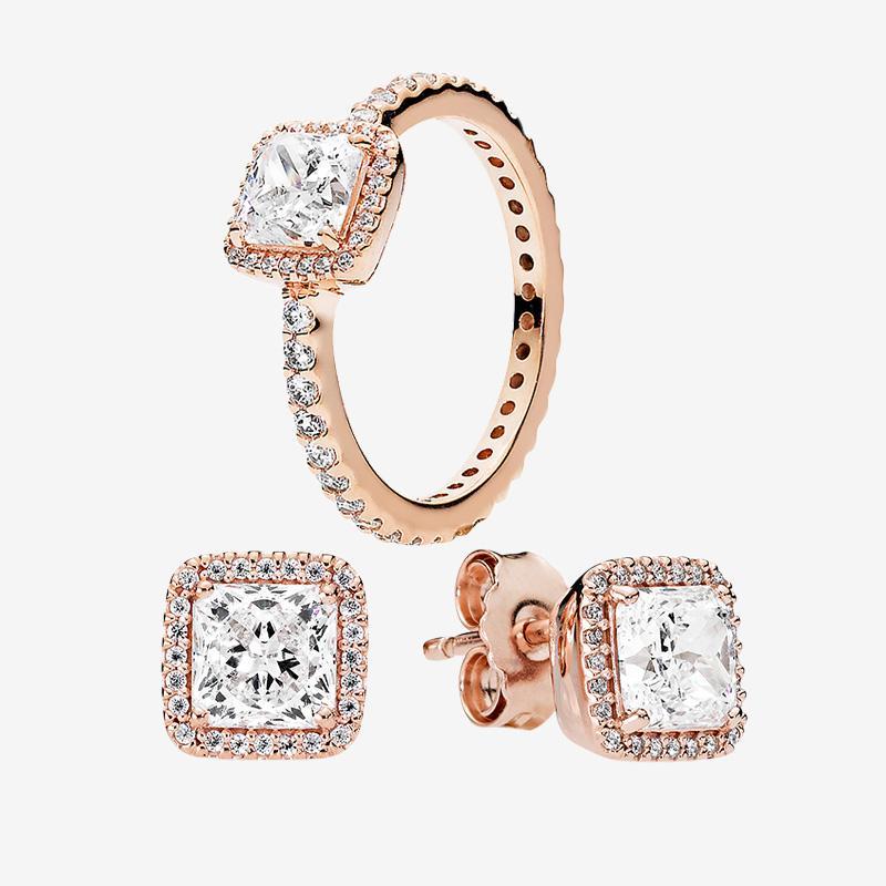 Square CZ Diamond élégant bague et boucle d'oreille rose or pour Pandora Real 925 Silver Bagues de mariage Boucle d'oreille avec boîte d'origine