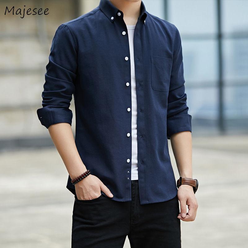 Men Shirts Sólidos manga comprida Oxford fino que cabe Masculino Tops Único Breasted Escritório ocasional All-jogo Plus Size 4XL Collar de abertura de cama