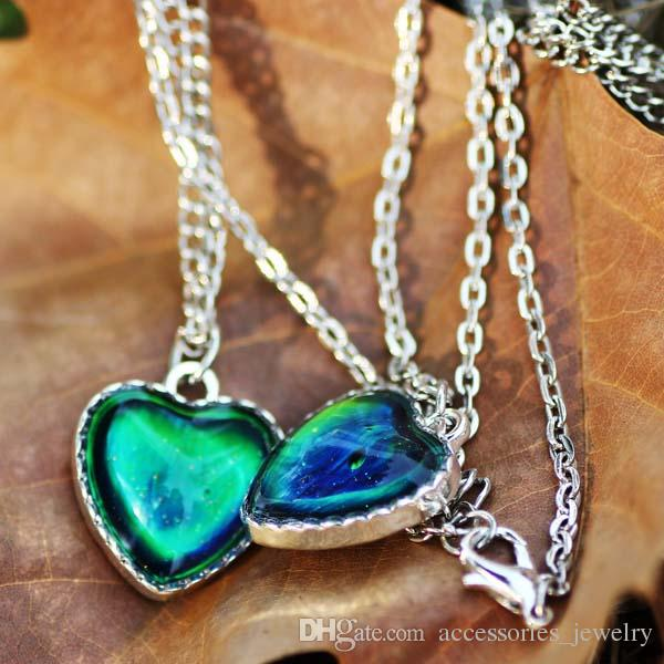 2019 Hot Sale luxury Design High Quality 12 Colors Change Mood Heart Stone Pendant Necklace for Sale