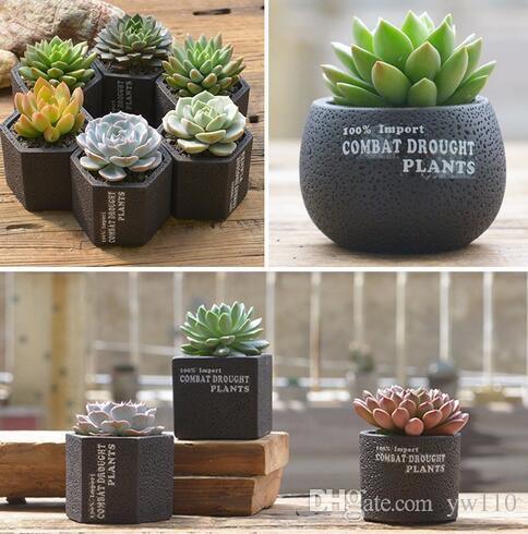 5 Style Flowerpot Cement Concrete Succulent Planter Pots Tiny Flower Pots Vase For Home Garden Plant