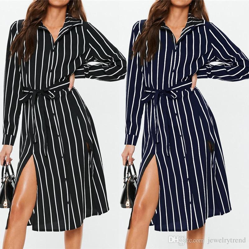 HOT Europe Fashion Femme Stripe Robe à manches longues à manches longues Robe de chemise à rayures fendues Noir Navy C4723