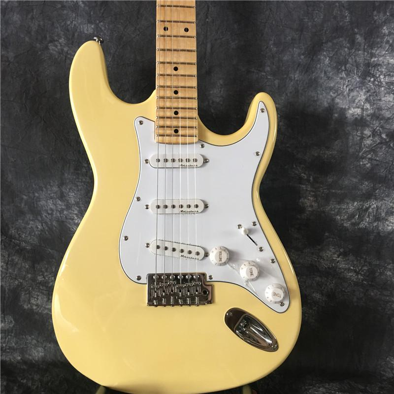 Üst Kalite çin Özel ST Floyd Rose Tremolo ile sarı boyun büyük mesnetli Elektrik gitar Cream taraklı