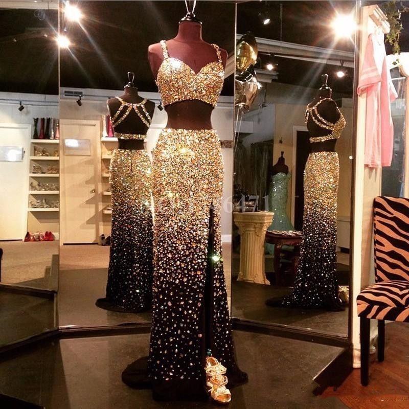 2020 Dazzling de luxe en cristal d'or Perles Deux Pièces Robes sexy dos nu haut avant de Split Noir soirée bal Robes