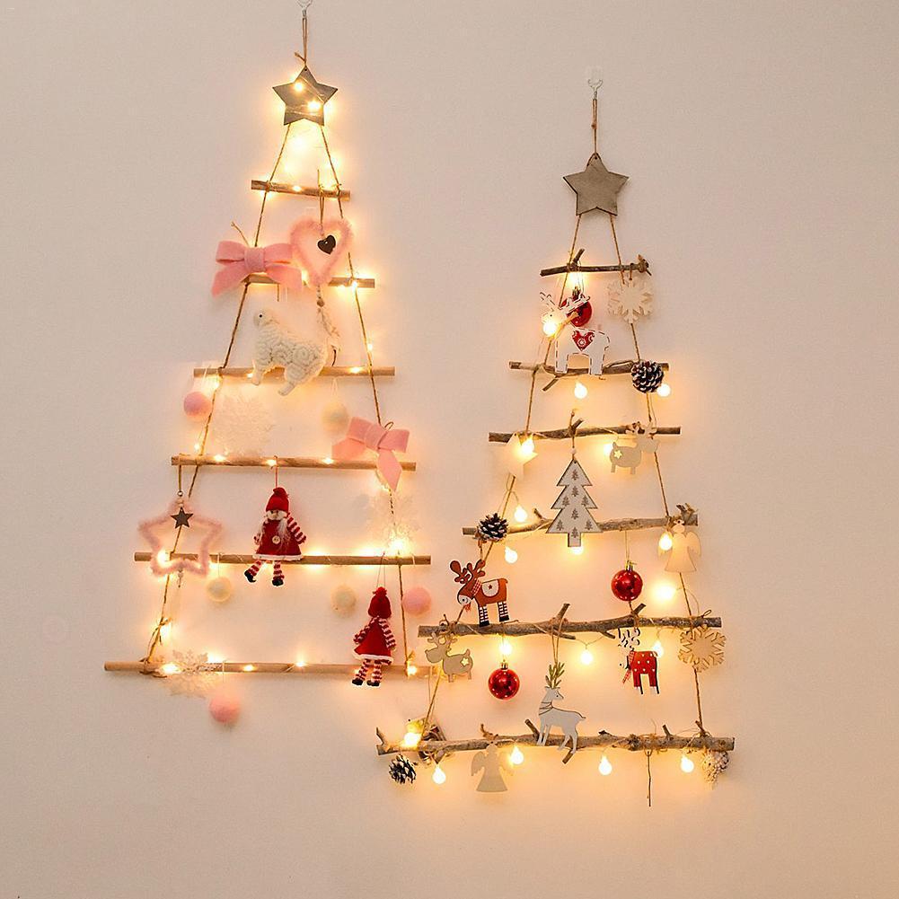 Falso Nordic Natal do estilo Artificial Árvore da parede da árvore de madeira Ornamento de suspensão Ano Novo Nursery crianças quarto decoração para a casa Navidad