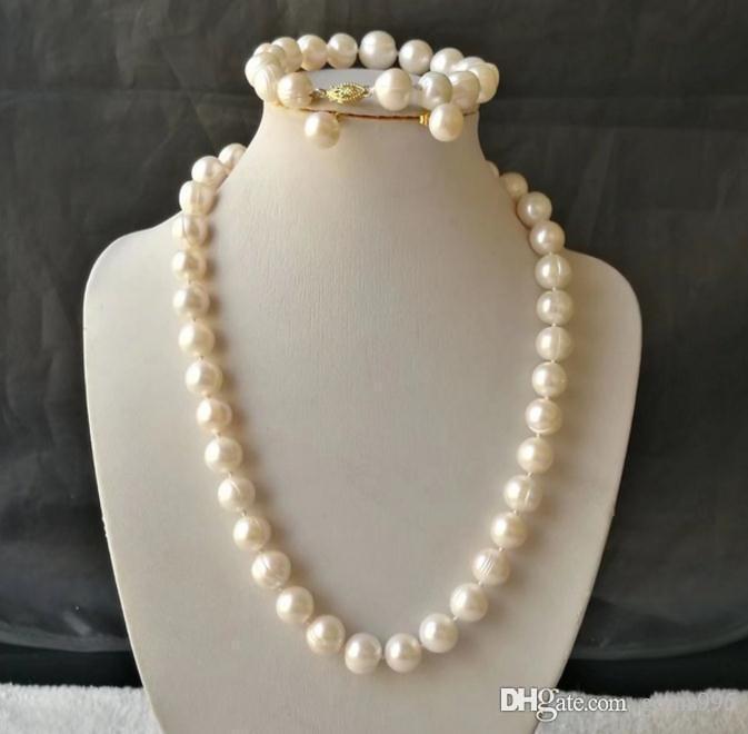 Mar Bianco 10-12mm Sud barocco collana di perle + Bracelet + Earrings Set 18inch 14k accessori oro