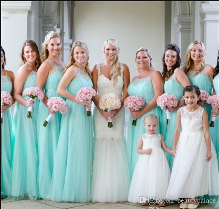 Fashion Light Turquoise Bridesmaids Dresses Plus Size Beach Tulle Cheap  Wedding Guest Party Dress Long Pleated Evening Gowns Department Store ...